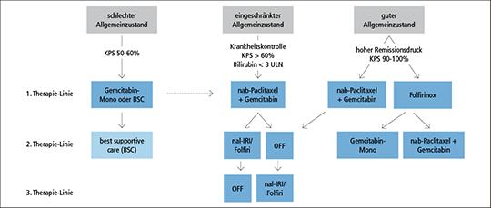 Abb. 1: Behandlungsalgorithmus beim metastasierten Pankreaskarzinoms (nach Oettle).