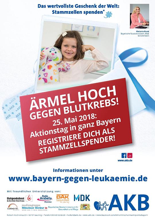 "Aktionsplakat ""Bayern gegen Leukämie"" 2018 / Copyright: Stiftung AKB"