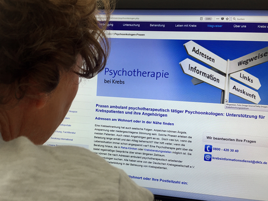 Suche leicht gemacht: Das psychoonkologische Online-Verzeichnis des Krebsinformationsdienstes © Krebsinformationsdienst, Deutsches Krebsforschungszentrum