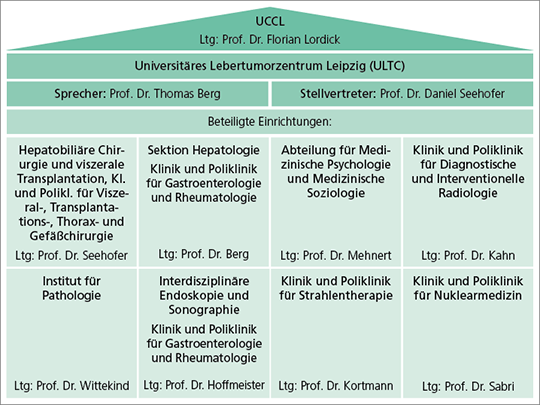 Abb. 1: Organigramm des Universitären Lebertumorzentrums Leipzig (ULTC).