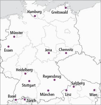 Abb. 1: Studienzentren in Deutschland, Österreich und der Schweiz.