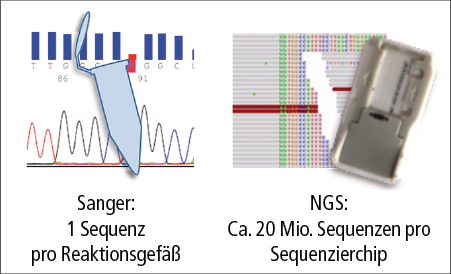 """Abb. 1: Von der Einzelsequenzierung zum """"massive parallel sequencing"""" (NGS)."""