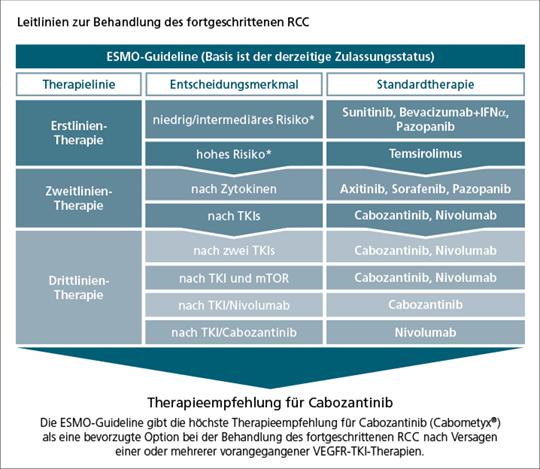 Abb. 1: ESMO-Leitlinie zur Behandlung des fortgeschrittenen klarzelligen RCC (mod. nach (5)).
