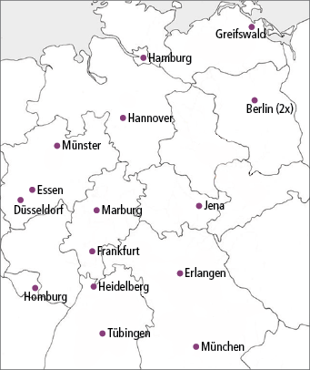 Abb. 1: Studienzentren in Deutschland.
