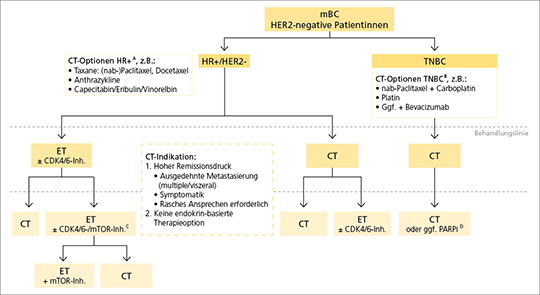 Abb. 1: Therapiestrategie des HER2-negativen metastasierten Mammakarzinoms.