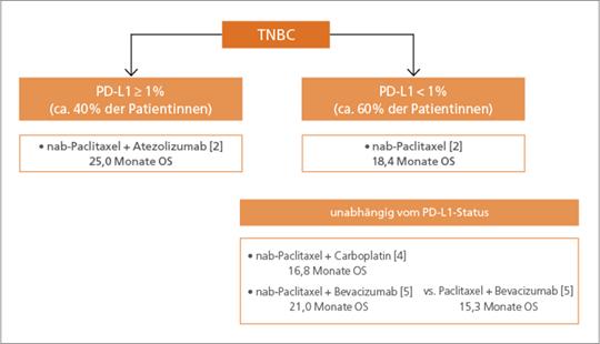 Abb. 1: Entscheidungsfindung in der Therapie der TNBC-Patientinnen (mod. nach (2, 4, 5)).