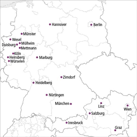 Abb. 1: Studienzentren in Deutschland und Österreich.