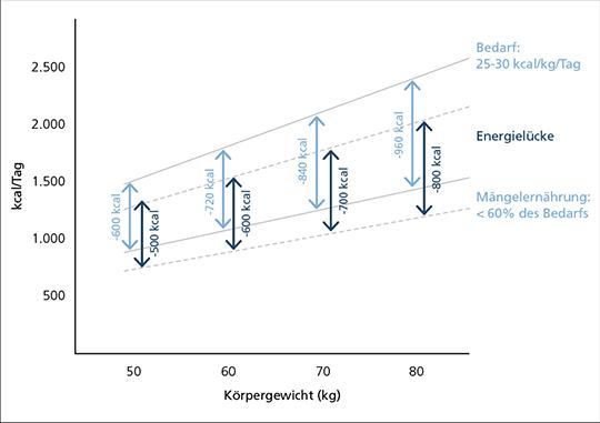 Abb. 1: Mangelernährung ist bei Krebspatienten vorprogrammiert: Wird der tägliche Bedarf von 25-30 kcal/kg nur zu 60% gedeckt, entsteht eine Energielücke (mod. nach (8)).