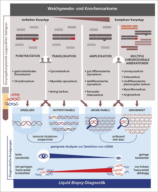 Abb. 1: Die Komplexität chromosomaler Mutationen bestimmt das notwendige Analyseverfahren für den Nachweis von ctDNA bei Sarkomen. Somatische Veränderungen können dabei in Form von einfachen Punktmutationen oder Translokationen vorliegen und bis zu komplexen Genamplifikationen, Genfusionen oder strukturellen Rearrangements reichen. Die Wahl des optimalen Analyseverfahrens ist abhängig von der genetischen Komplexität, dem für Diagnostik oder Therapie notwendigen Grad an Sensitivität und der Menge an tumorassoziierter DNA im peripheren Blut (mod. nach (36)).