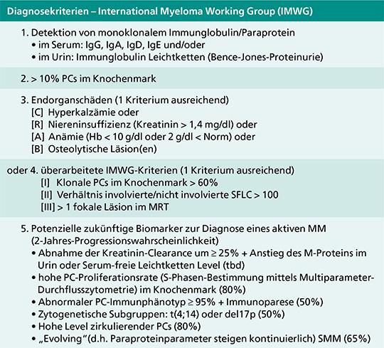 Diagnosekriterien des MM