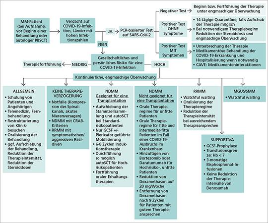 Abb. 1: Empfehlungen zur Behandlung von Myelom-Patienten mit Risiko einer COVID-19-Erkrankung bzw. aktiver Infektion (mod. nach (13, 15)).