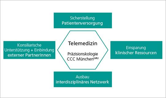 Abb. 4: Aspekte der Telemedizin im Präzisionsonkologie-Programm am CCC MünchenLMU.