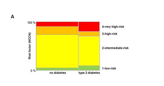Für jeden der 74 Patienten mit Typ-2-Diabetes und die 148 Männer ohne Diabetes wurde der Risikowert des National Comprehensive Cancer Network (NCCN) berechnet. © IDM