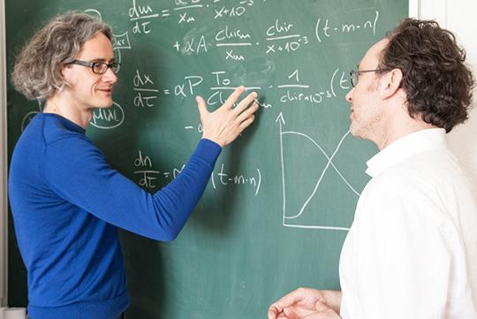 Mathematiker haben ein Modell entwickelt, auf dessen Grundlage künftig die Therapie von Leukämiepatienten verbessert werden soll. (V.l.n.r.) Dr. Ingmar Glauche und Prof. Ingo Röder vom Institut für Medizinische Biometrie und Statistik der TU Dresden. © MF/TUD